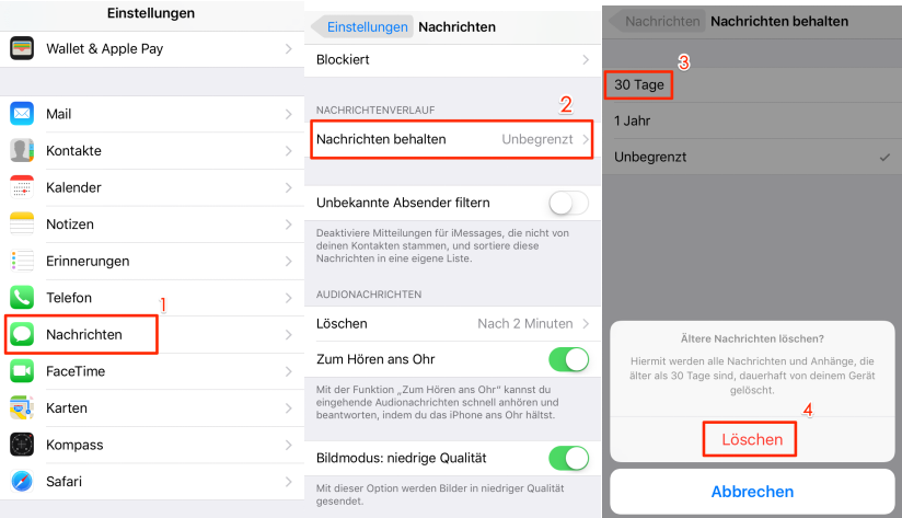 Nachrichten Verlauf vom iPhone/iPad reinigen – Speicherplatz freigeben