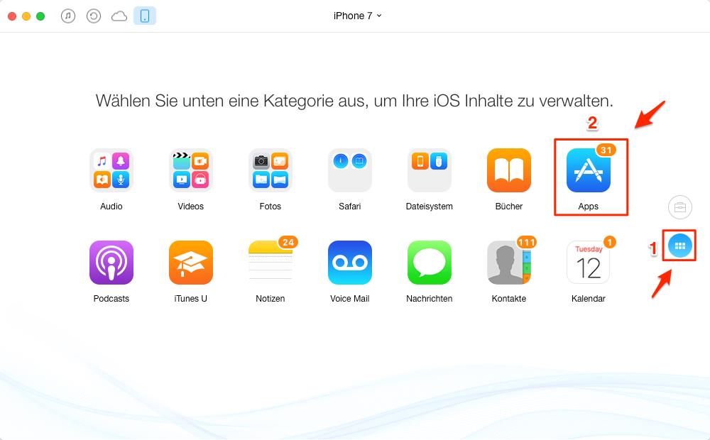 App auf dem Hauptfenster antippen – Schritt 2
