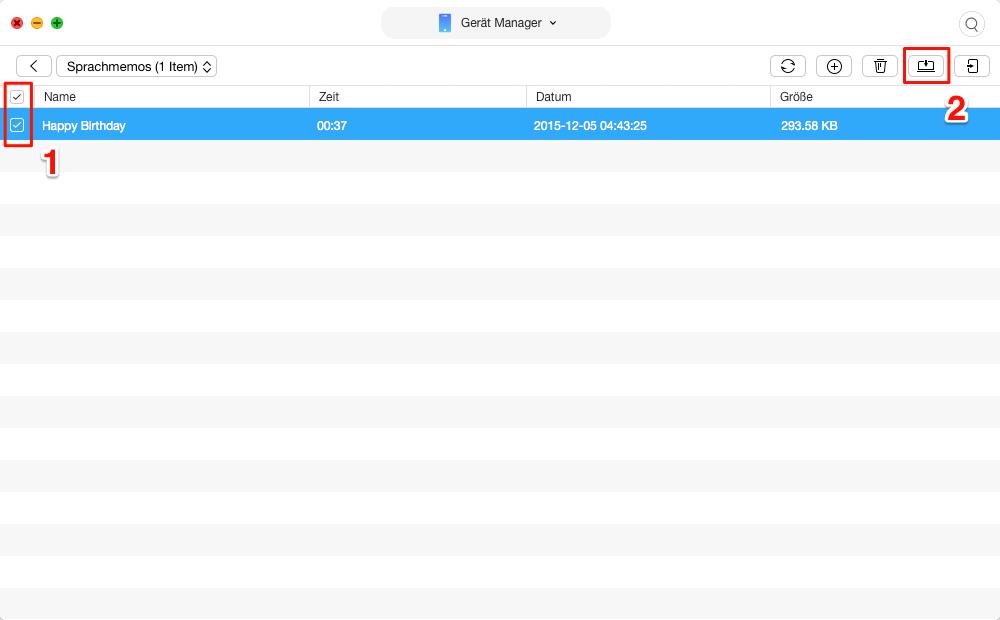 Sprachmemos vom iPhone auf Mac sicher übertragen – Schritt 2