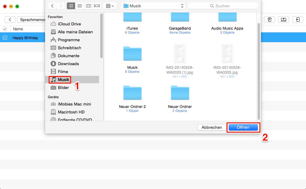iPhone Sprachmemos auf Mac kopieren – Schritt3