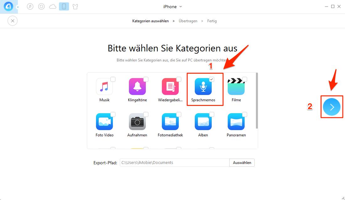Alle Sprachmemos vom iPhone auf PC ohne iTunes – Schritt 3