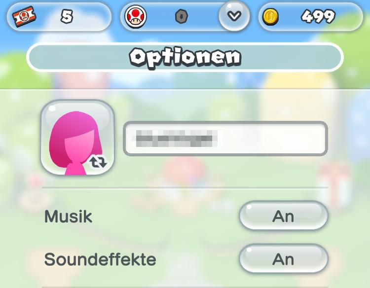 Super Mario Optionen für Töne überprüfen