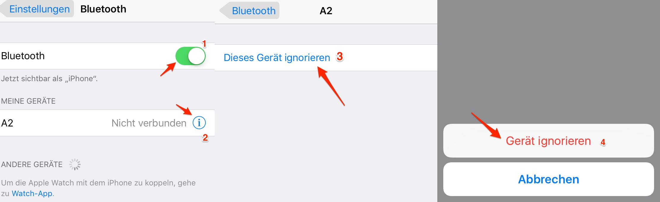 Bluetooth-Gerät neu koppeln – iPhone Bluetooth funktioniert nicht