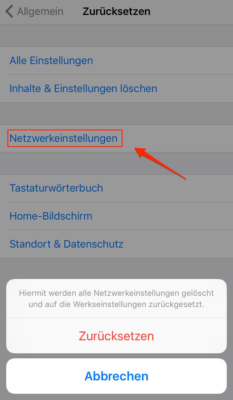 Netzwerkeinstellungen zurücksetzen: Bluetooth-Problem unter iOS 11