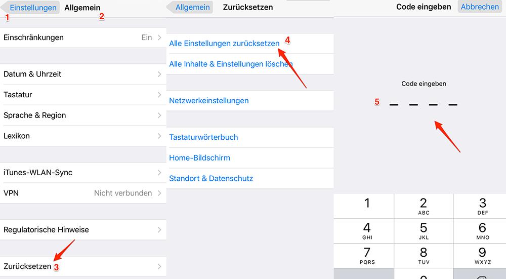 Alle Einstellungen zurücksetzen – iOS 11/11.2/11.3 Bluetooth Probleme