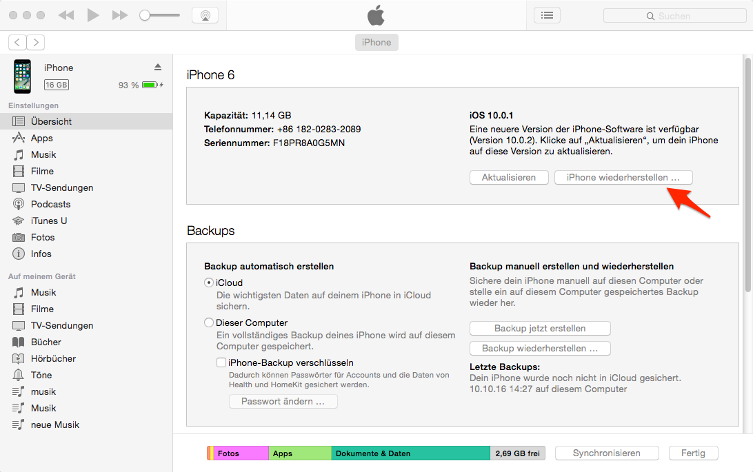 Gerät wiederherstellen – Bluetooth Probleme in iOS 11/11.1/11.2