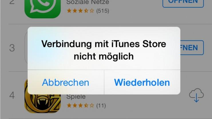 """Mitteilung """"Verbindung zum App Store nicht möglich"""""""
