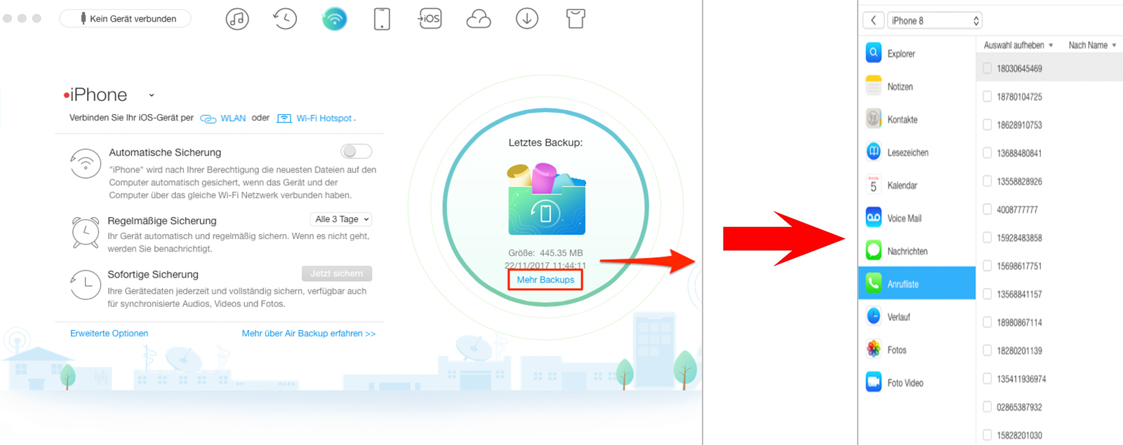 Alternative zu iCloud – Backup verwalten