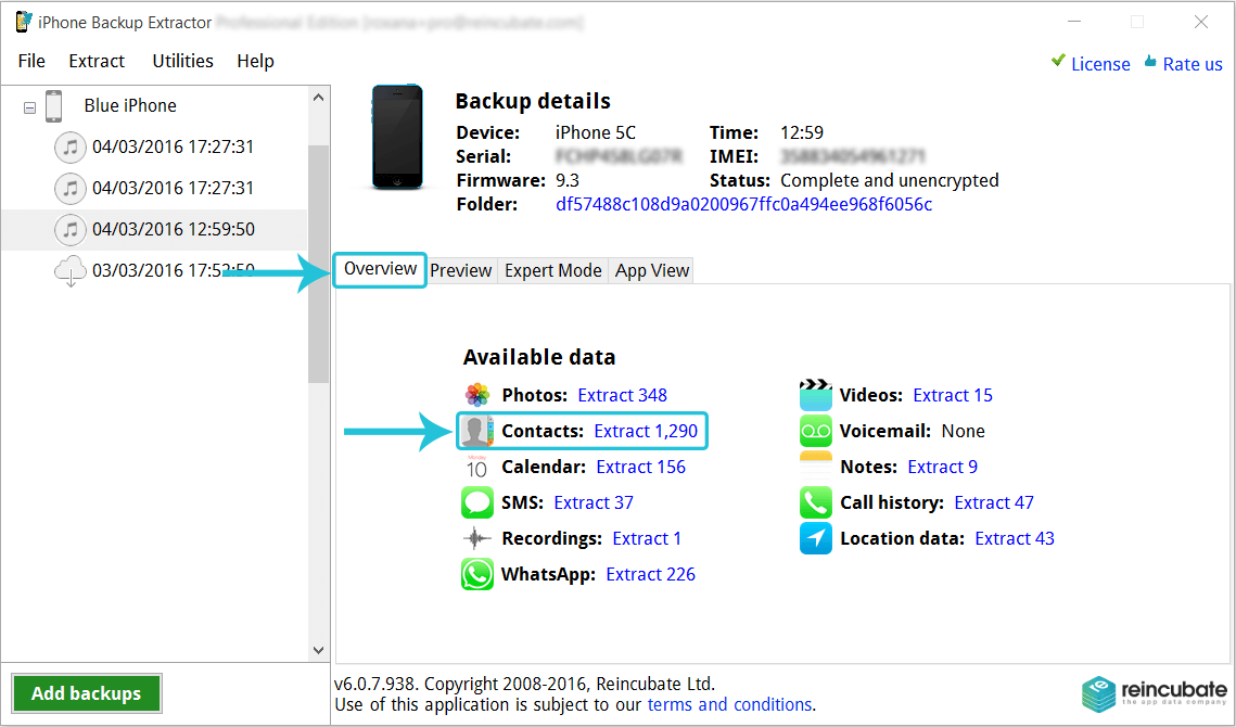 Daten vom iPhone Backup auf den Computer extrahieren