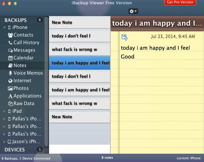 Screenshot von iBackup Viewer