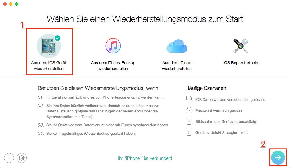 iOS-Daten wiederherstellen mit iTunes Alternative – Schritt 2