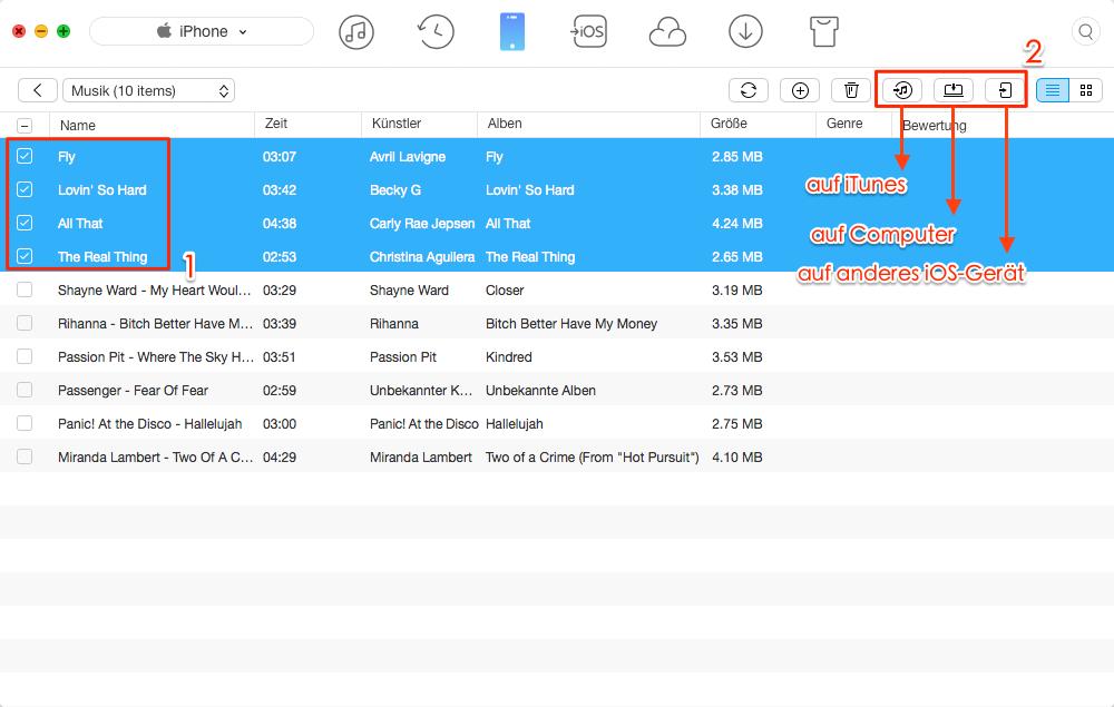 iPhone Musik mit der iTunes Alternative übertragen – Schritt 2