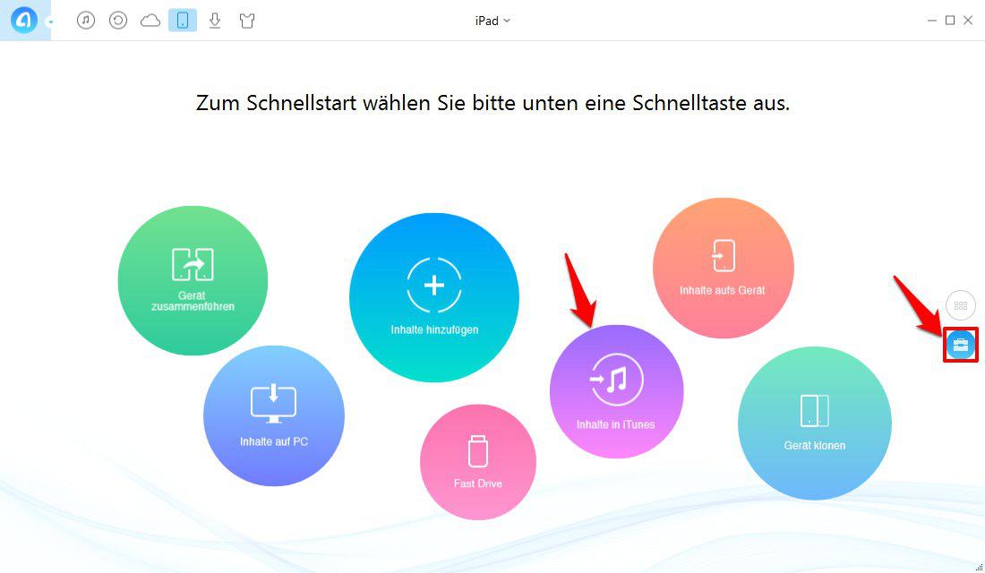 Inhalte vom iPad ins iTunes übertragen - Schritt 1