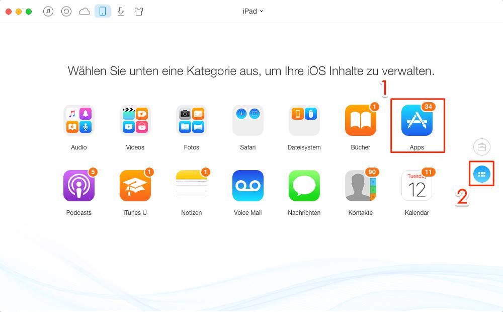 AnyTrans starten und Apps klicken - Schritt 1