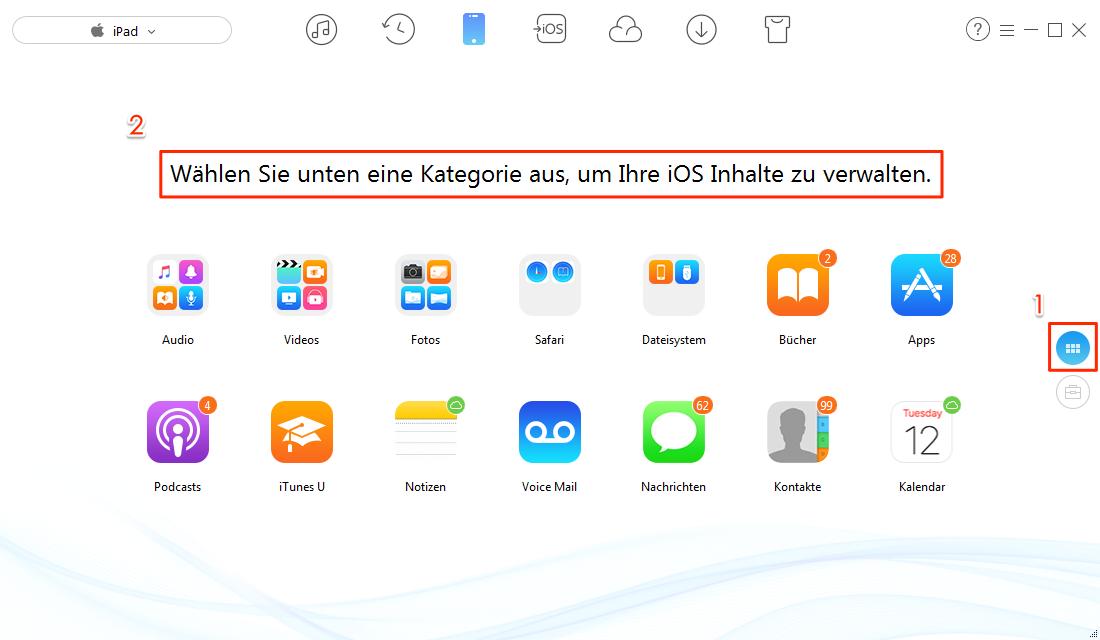 Gewünschte Daten vom iPad Pro/Air/mini auf PC übertragen – Schritt 1