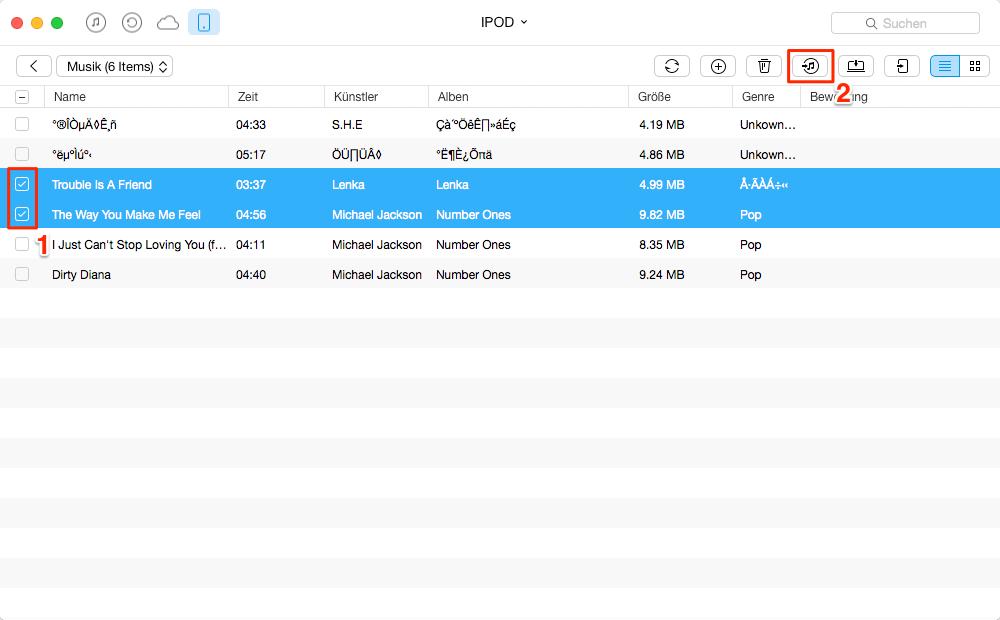 Musik vom iPod auf iTunes übertragen – Schritt 2