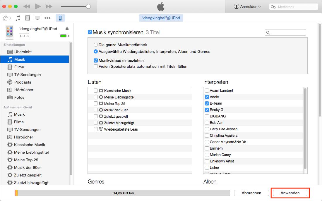 Musik von Computer auf iPod über iTunes senden