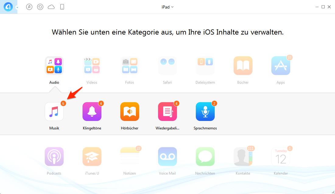 iPad Musik auf den PC übertragen – Schritt 3