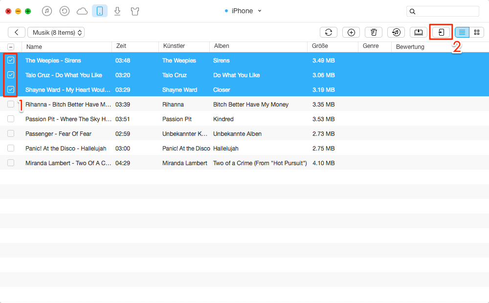 Musik vom iPhone auf iPad mini 2 übertragen – Schritt 3
