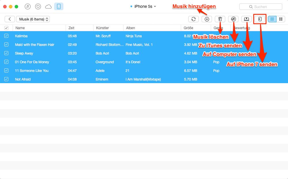 Musik vom iPhone zum iPhone senden – Schritt 4