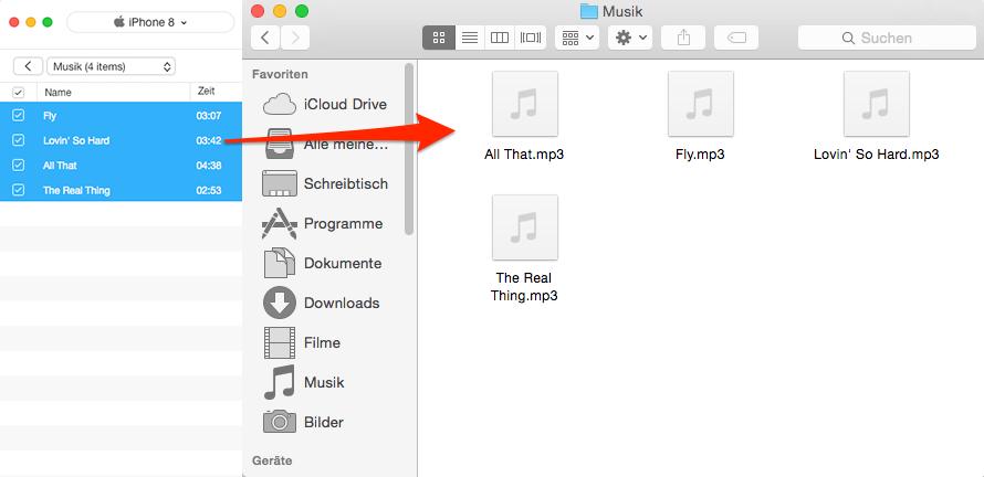 Musik vom iPhone auf Mac erfolgreich übertragen – Schritt 4
