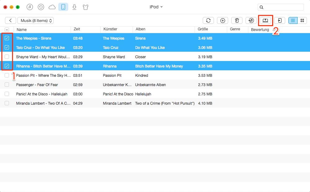 Musik vom iPod auf Mac/MacBook übertragen – Schritt 3