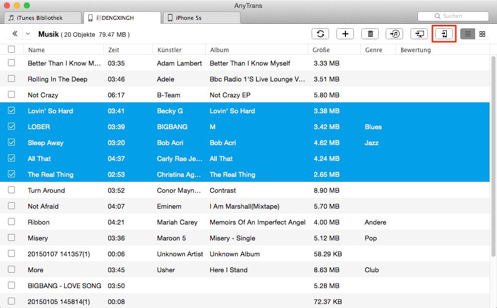 Musik vom iPod auf iPhone 5/5c/5s – Schritt 2