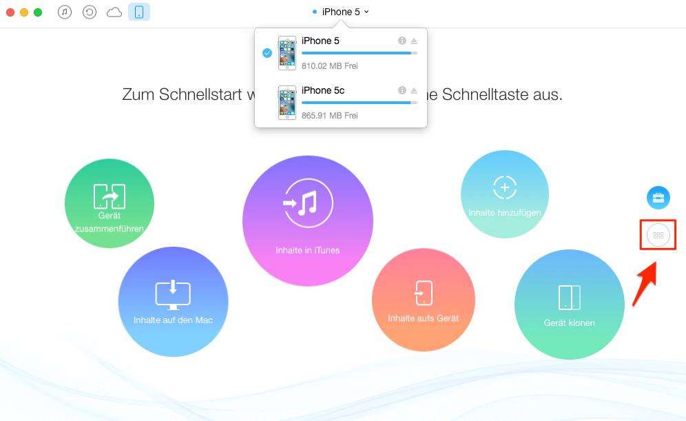 Musik zwischen zwei iPhones übertragen – Schritt 2
