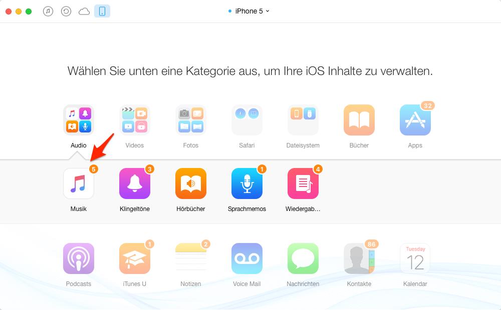 Musik auf iPhone 5c übertragen – Schritt 3