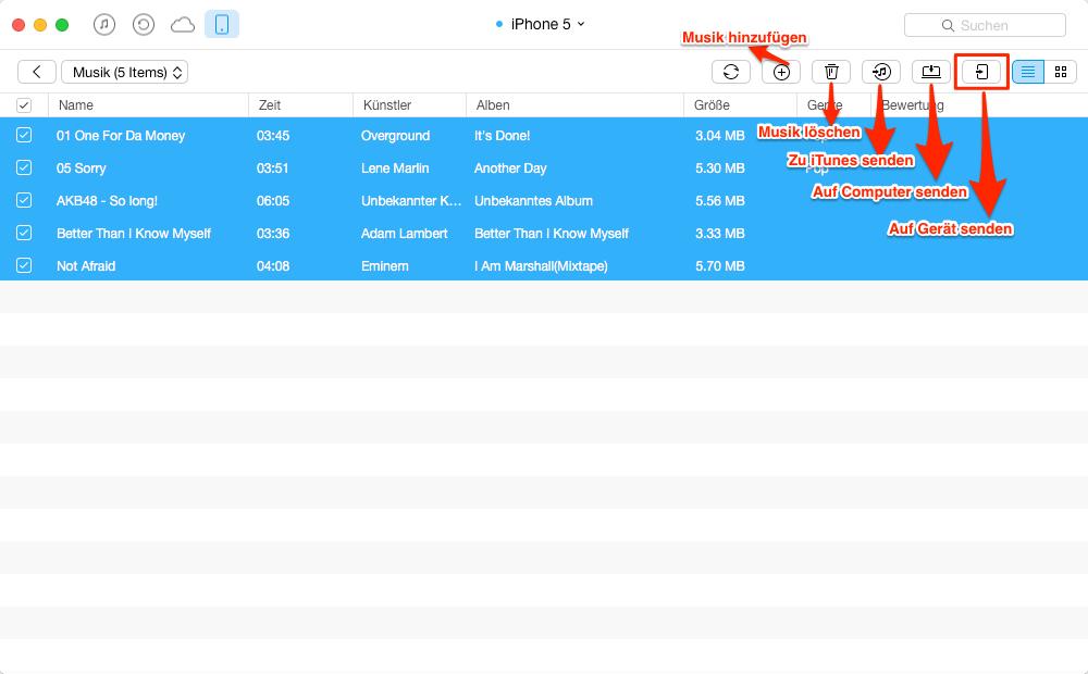 Musik vom alten iPhone direkt auf iPhone 5c übertragen – Schritt 4
