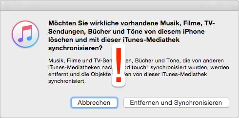 Musik auf iPod laden: iTunes Mitteilung