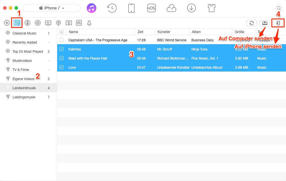 Wiedergabeliste/Playlist von iTunes auf iPhone (X/8/7) übertragen – Schritt 2