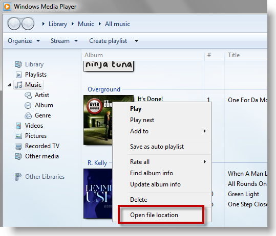 Finden Sie Windows Media Player Musik Ort