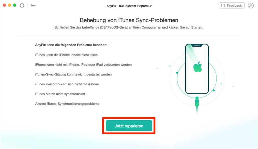 Über AnyFix iTunes-Synchronisationsfehler jetzt reparieren