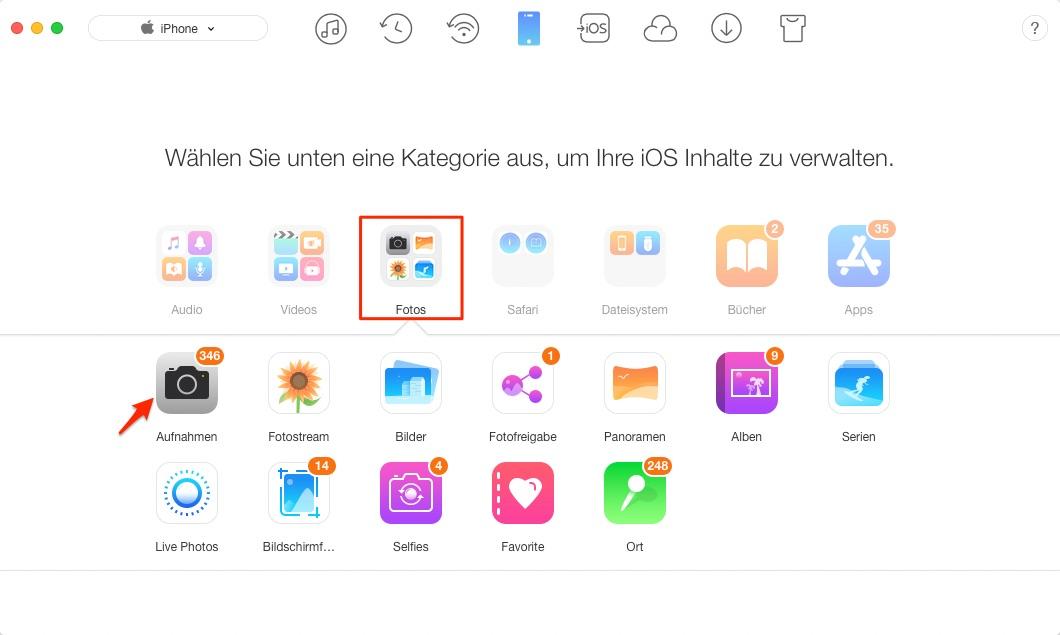 Bilder vom iPhone auf iPad übertragen – Schritt 1
