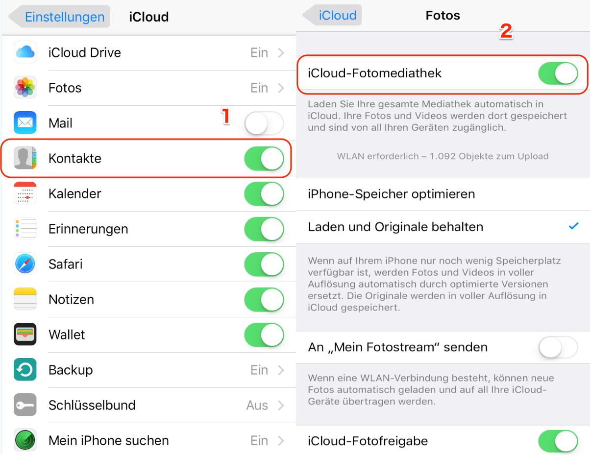 Mit iCloud übertragen Sie die Bilder vom iPhone auf iPad