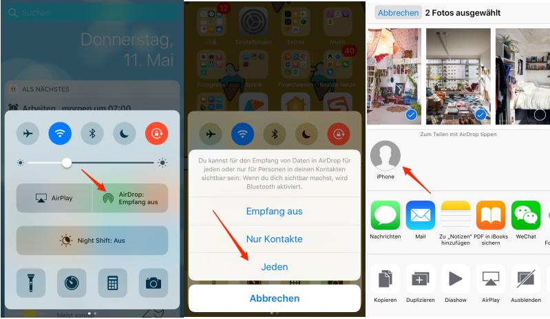Fotos vom iPhone auf iPad mit AirDrop übertragen