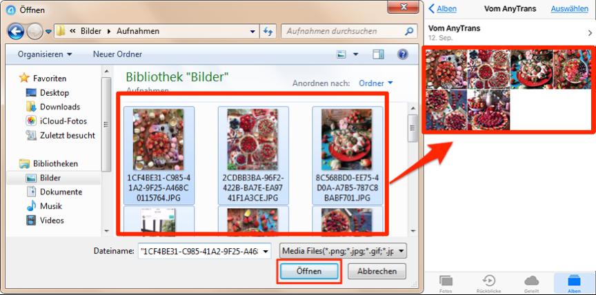 Bilder vom PC auf iPhone X/8 richtig übertragen – Schritt 3