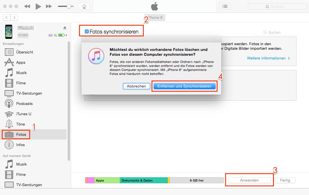 Bilder von Windows 10/8/7 auf iPhone - mit iTunes