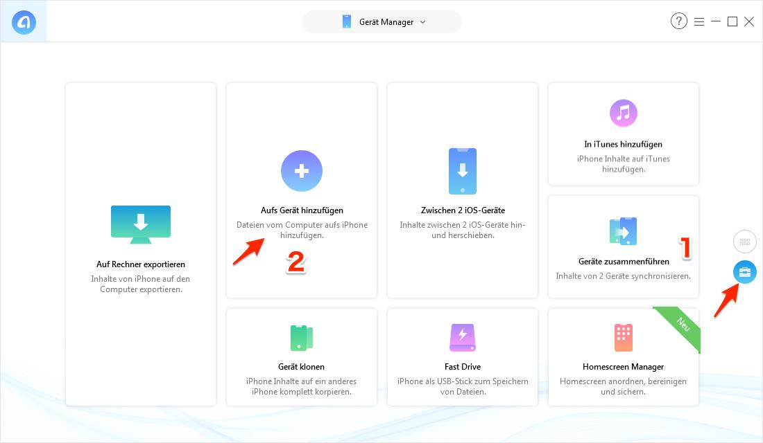 Bilder & Fotos von Windows auf iPhone übertragen - Schritt 1