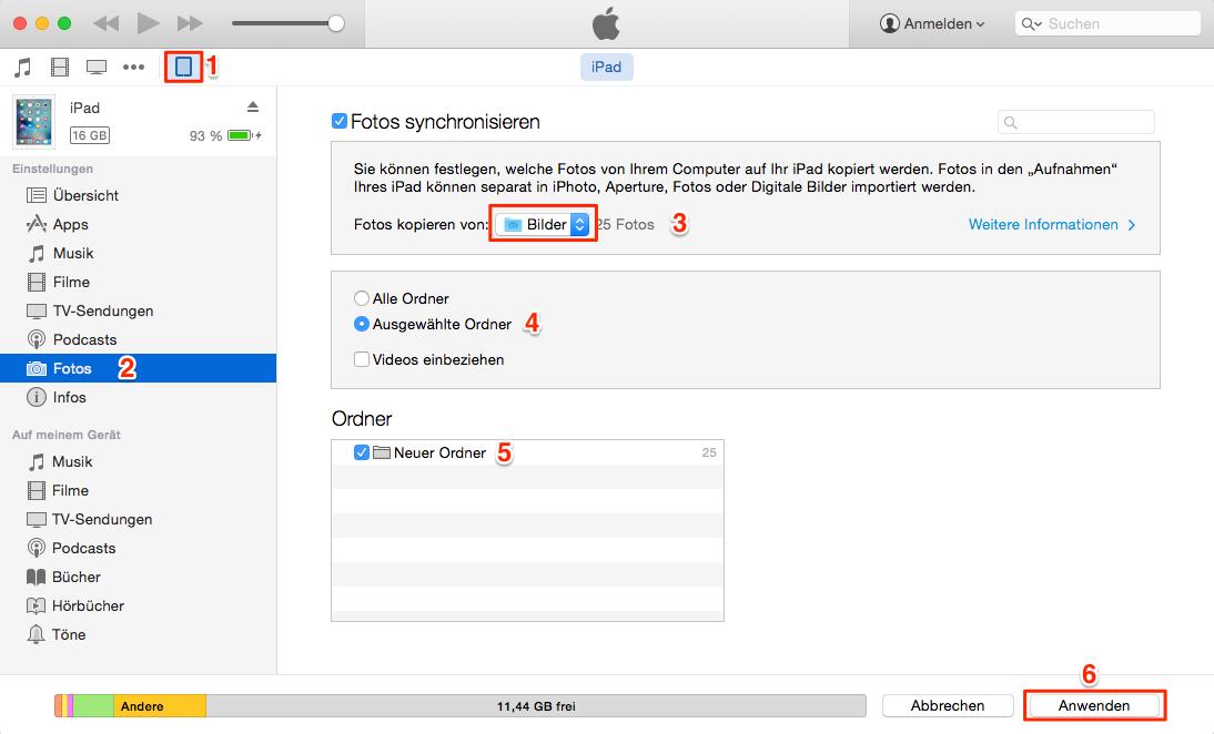 Über iTunes kann man die Fotos vom Computer auf iPad übertragen