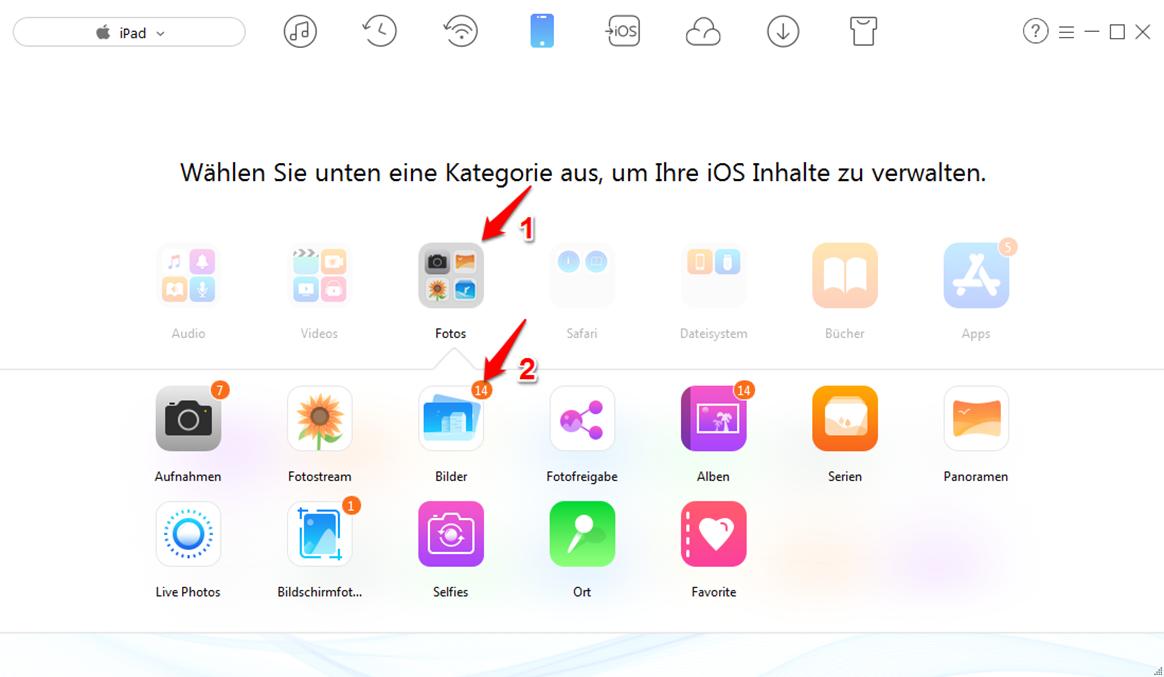 Alle Bilder vom Computer auf iPad übertragen – Schritt 2