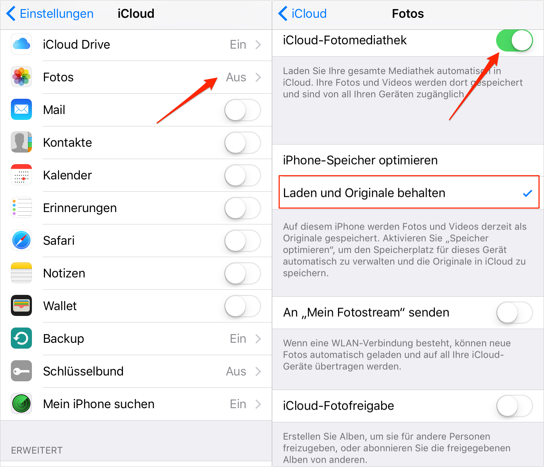 Mit iCloud übertragen Sie die Fotos vom iPhone zu iPhone
