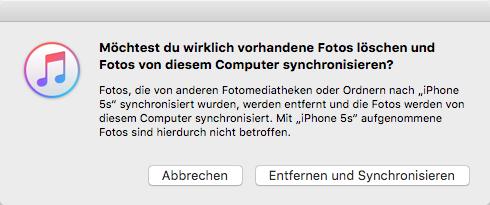 Fotos von iPhone zu iPhone mit iTunes – vorhandene Fotos verlieren