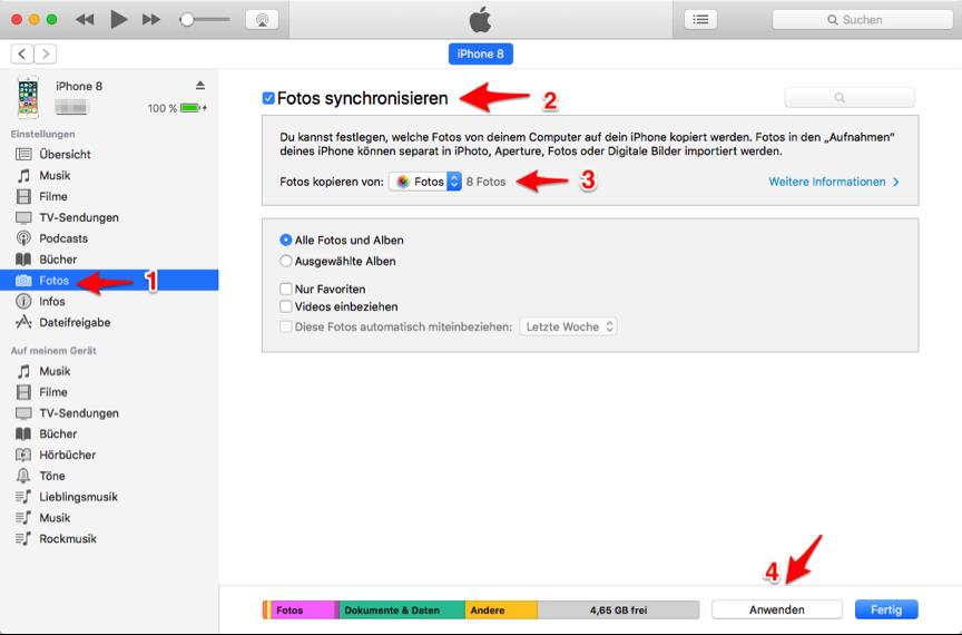 Fotos vom iPhone auf iPhone – mit iTunes