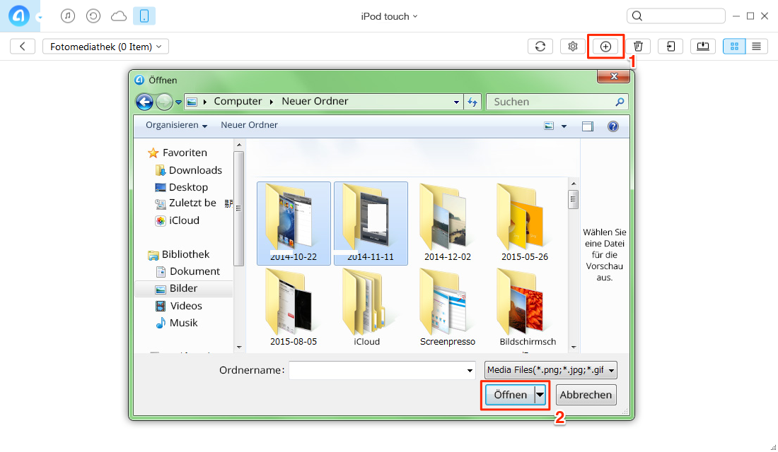 Fotos vom PC auf iPod touch übertragen - Schritt 2
