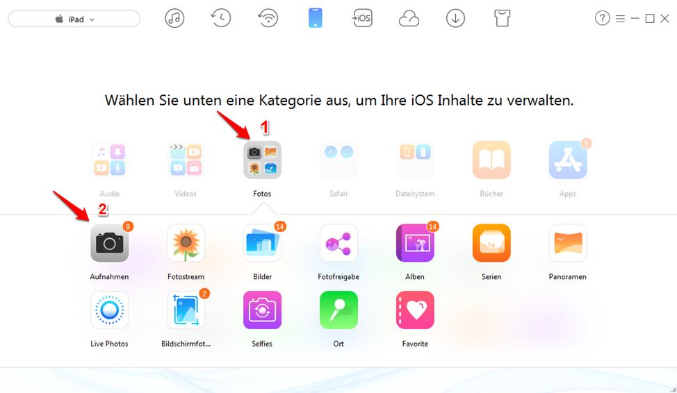 Richtig! iPad Fotos auf PC übertragen – Schritt 3