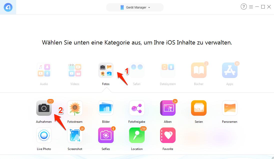 Fotos vom iPhone auf iPad direkt übertragen - Schritt 2
