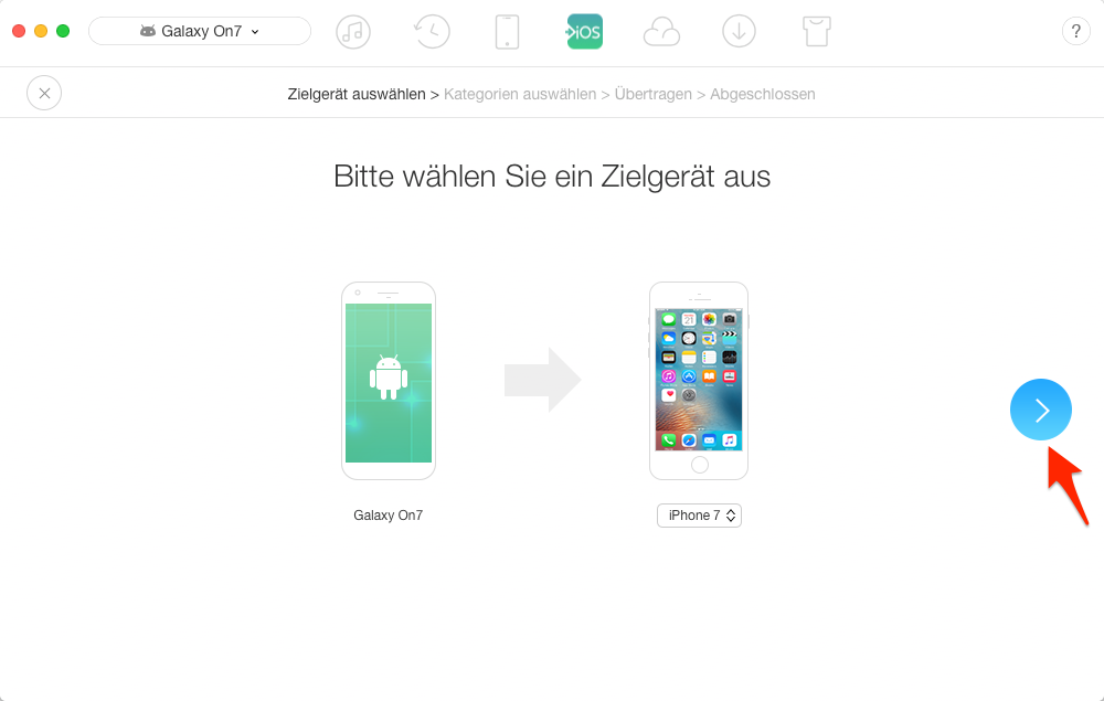 Daten von Android auf iPhone – Schritt 3