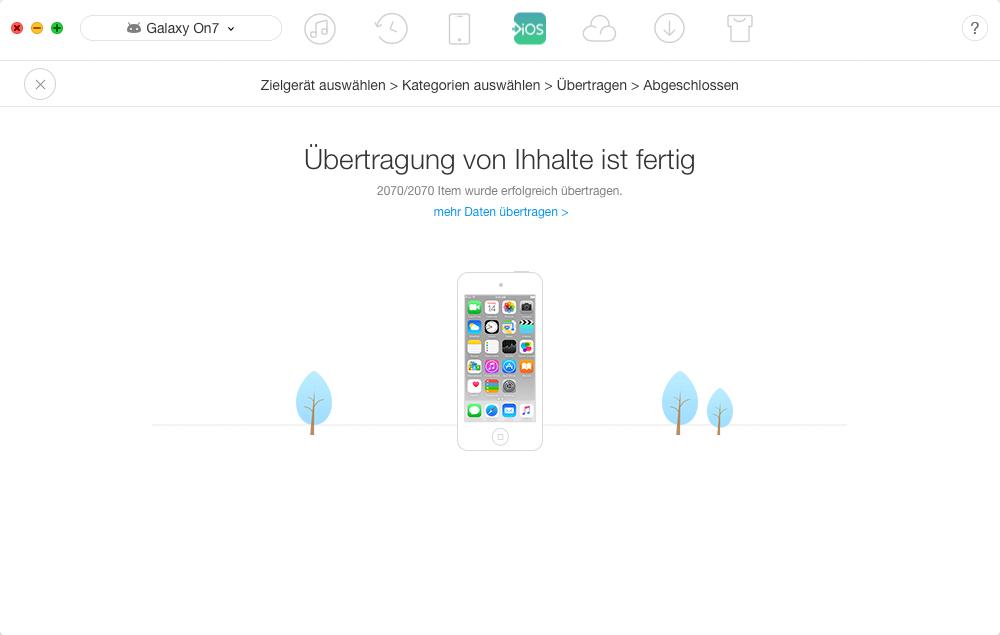Android-Daten auf iPhone X/8/7 übertragen